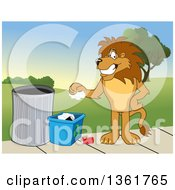 Clipart Of A Lion School Mascot Character Recycling Symbolizing Integrity Royalty Free Vector Illustration