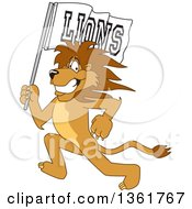 Lion School Mascot Character Running With A Team Flag Symbolizing Pride by Toons4Biz