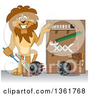 Clipart Of A Lion School Mascot Character Showing A Toothpaste Dispenser Invention Symbolizing Being Resourceful Royalty Free Vector Illustration