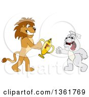 Lion School Mascot Character Giving A First Place Trophy To A Bulldog Symbolizing Sportsmanship by Toons4Biz