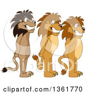 Lion School Mascot Characters Standing In Line Symbolizing Respect by Toons4Biz
