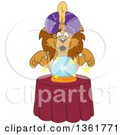Lion School Mascot Character Fortune Teller Looking Into A Crystal Ball Symbolizing Being Proactive