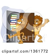 Lion School Mascot Character Holding A Door Open For A Friend Carrying A Stack Of Books Symbolizing Compassion by Toons4Biz
