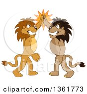 Clipart Of Lion School Mascot Characters High Fiving Symbolizing Pride Royalty Free Vector Illustration