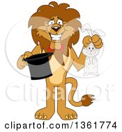 Lion School Mascot Character Magician Holding A Rabbit And Hat Symbolizing Being Resourceful by Toons4Biz