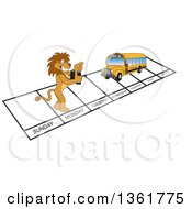 Clipart Of A Lion School Mascot Character And Bus Over Week Days Symbolizing Being Proactive Royalty Free Vector Illustration