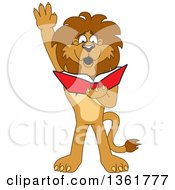 Lion School Mascot Character Raising His Hand And Reading A Book Symbolizing Determination by Toons4Biz