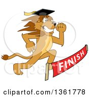 Lion School Mascot Character Graduate Running To A Finish Line Symbolizing Determination