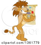 Clipart Of A Lion School Mascot Character Holding A Map Symbolizing Being Proactive Royalty Free Vector Illustration