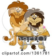 Lion School Mascot Character Tutoring A Worried Student Symbolizing Compassion by Toons4Biz