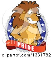 Clipart Of A Lion School Mascot Character On A Pride Badge Royalty Free Vector Illustration