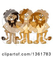 Clipart Of Lion School Mascot Characters Standing With Linked Arms Symbolizing Loyalty Royalty Free Vector Illustration
