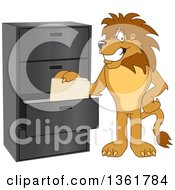 Clipart Of A Lion School Mascot Character Filing Folders Symbolizing Organization Royalty Free Vector Illustration