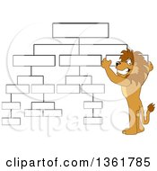 Clipart Of A Lion School Mascot Character Setting Up A Chart Symbolizing Organization Royalty Free Vector Illustration