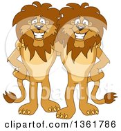 Clipart Of Lion School Mascot Characters Standing And Embracing Symbolizing Loyalty Royalty Free Vector Illustration