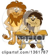 Lion School Mascot Character Standing By A Worried Student Symbolizing Compassion by Toons4Biz