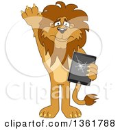 Clipart Of A Lion School Mascot Character Confessing To Breaking A Tablet Computer Symbolizing Integrity Royalty Free Vector Illustration