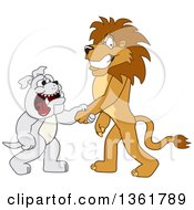 Poster, Art Print Of Lion School Mascot Character Shaking Hands With A Bulldog Symbolizing Acceptance