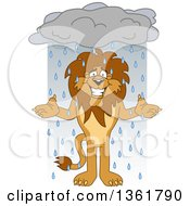 Lion School Mascot Character Shrugging In The Rain Symbolizing Acceptance