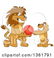 Clipart Of A Lion School Mascot Character Giving A Ball To A Cub Symbolizing Compassion Royalty Free Vector Illustration by Toons4Biz