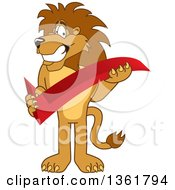Lion School Mascot Character Holding A Check Mark Symbolizing Acceptance