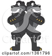 Black Panther School Mascot Characters Standing Back to Back and Leaning on Each Other, Symbolizing Loyalty