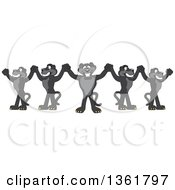 Clipart Of Black Panther School Mascot Characters Cheering And Holding Up Hands Symbolizing Leadership Royalty Free Vector Illustration
