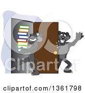 Clipart Of A Black Panther School Mascot Character Holding A Door Open For A Friend Carrying A Stack Of Books Symbolizing Compassion Royalty Free Vector Illustration by Toons4Biz
