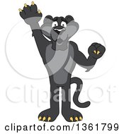 Clipart Of A Black Panther School Mascot Character Raising A Hand To Volunteer Or Lead Symbolizing Responsibility Royalty Free Vector Illustration