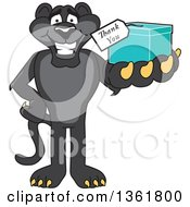 Clipart Of A Black Panther School Mascot Character Holding Out A Thank You Gift Symbolizing Gratitude Royalty Free Vector Illustration by Toons4Biz