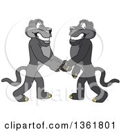 Clipart Of Black Panther School Mascot Characters Shaking Hands Symbolizing Gratitude Royalty Free Vector Illustration by Toons4Biz