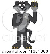 Clipart Of A Black Panther School Mascot Character Pledging Symbolizing Integrity Royalty Free Vector Illustration by Toons4Biz