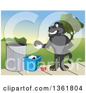 Clipart Of A Black Panther School Mascot Character Recycling Symbolizing Integrity Royalty Free Vector Illustration