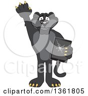 Clipart Of A Black Panther School Mascot Character Confessing To Breaking A Tablet Symbolizing Integrity Royalty Free Vector Illustration