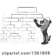 Black Panther School Mascot Character Setting Up A Chart Symbolizing Organization