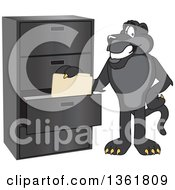 Clipart Of A Black Panther School Mascot Character Filing Folders Symbolizing Organization Royalty Free Vector Illustration