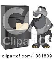 Black Panther School Mascot Character Filing Folders Symbolizing Organization