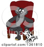 Clipart Of A Black Panther School Mascot Character Sitting By A Dog Symbolizing Responsibility Royalty Free Vector Illustration by Toons4Biz