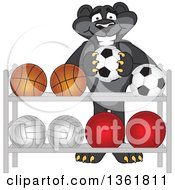 Clipart Of A Black Panther School Mascot Character Putting A Soccer Ball Back On A Rack Symbolizing Respect Royalty Free Vector Illustration