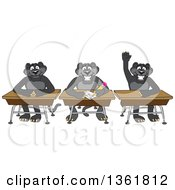 Black Panther School Mascot Characters Sitting At Desks One Raising His Hand Symbolizing Respect