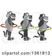 Clipart Of Black Panther School Mascot Characters Standing In Line With Hoop Spacers Symbolizing Respect Royalty Free Vector Illustration