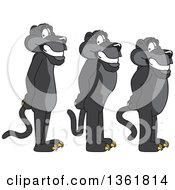 Clipart Of Black Panther School Mascot Characters Standing In Line Symbolizing Respect Royalty Free Vector Illustration