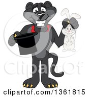 Clipart Of A Black Panther School Mascot Character Magician Holding A Hat And Rabbit Symbolizing Being Resourceful Royalty Free Vector Illustration