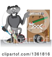 Black Panther School Mascot Character Showing A Toothpaste Dispenser Invention Symbolizing Being Resourceful