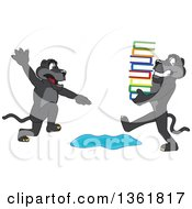 Clipart Of A Black Panther School Mascot Character Warning Another That Is Carrying Books About A Puddle Symbolizing Being Proactive Royalty Free Vector Illustration