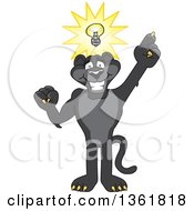 Clipart Of A Black Panther School Mascot Character With An Idea Symbolizing Being Resourceful Royalty Free Vector Illustration