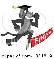 Black Panther School Mascot Character Graduate Racing To A Finish Line Symbolizing Determination
