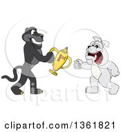 Black Panther School Mascot Character Giving A First Place Trophy To A Bulldog Symbolizing Teamwork And Sportsmanship