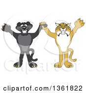 Black Panther And Bobcat School Mascot Characters Holding Hands And Cheering Symbolizing Sportsmanship