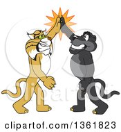 Clipart Of Black Panther And Bobcat School Mascot Characters High Fiving Symbolizing Teamwork And Sportsmanship Royalty Free Vector Illustration by Toons4Biz